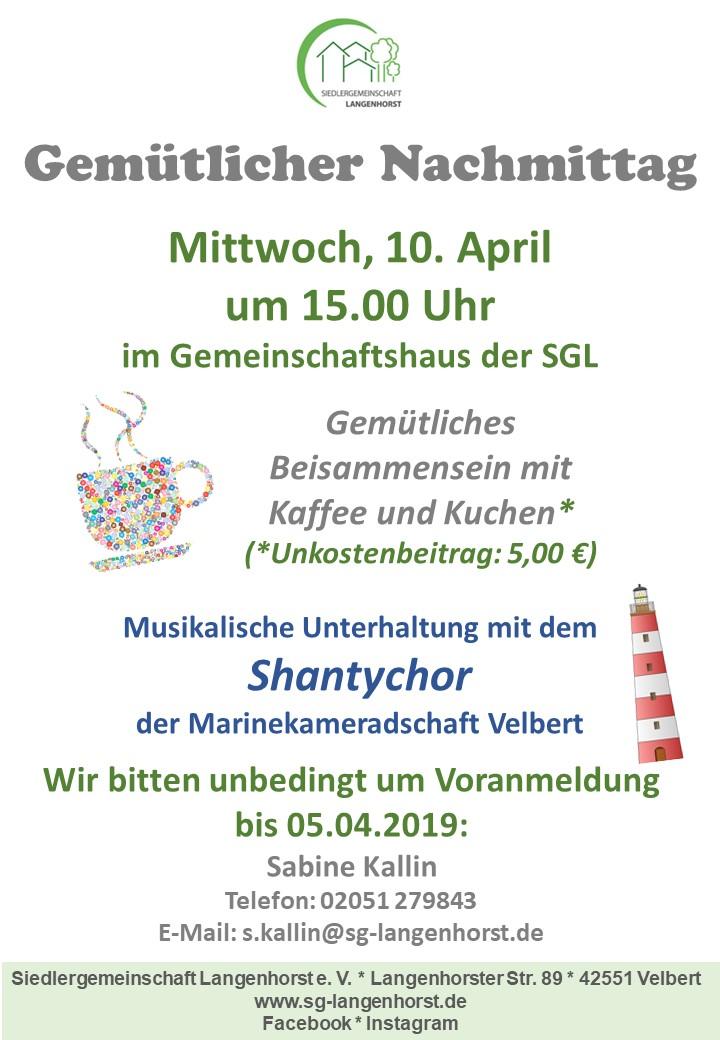 Gemütlicher Nachmittag @ Siedlergemeinschaft Langenhorst e. V.