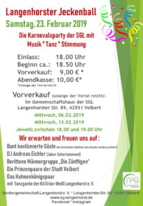 Langenhorster Jeckenball @ Siedlergemeinschaft Langenhorst e. V.