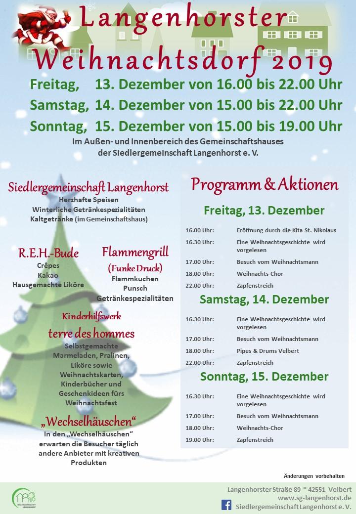 Langenhorster Weihnachtsdorf 2019 (Tag 1 von 3) @ Siedlergemeinschaft Langenhorst e. V.