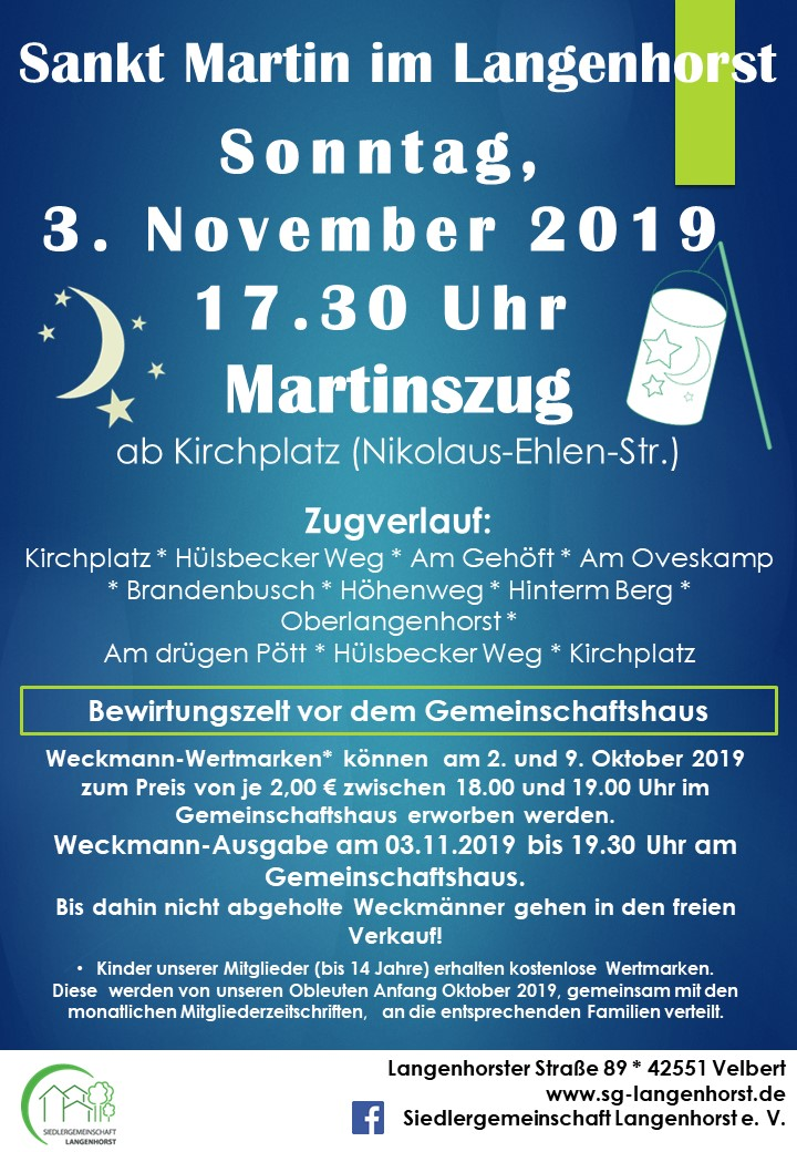 Sankt Martin im Langenhorst - Laternenumzug durch die Siedlung