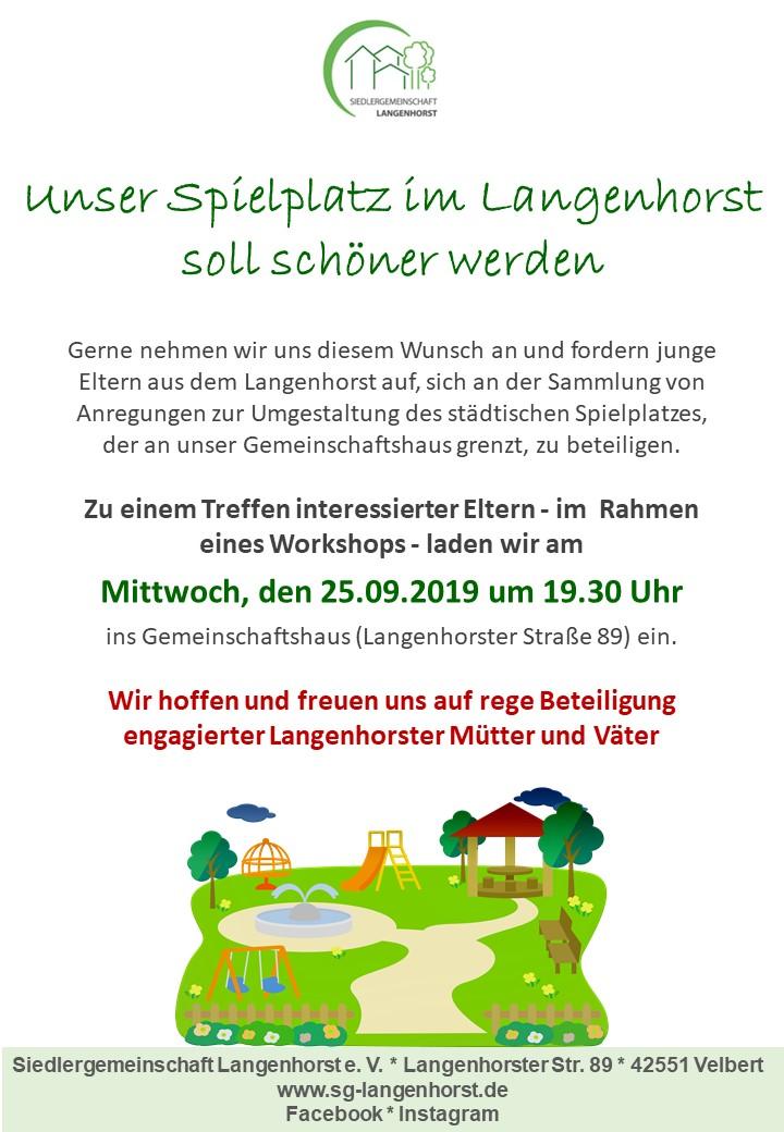 """""""Unser Spielplatz im Langenhorst soll schöner werden"""" - Treffen/Workshop interessierter Eltern @ Siedlergemeinschaft Langenhorst e.V."""