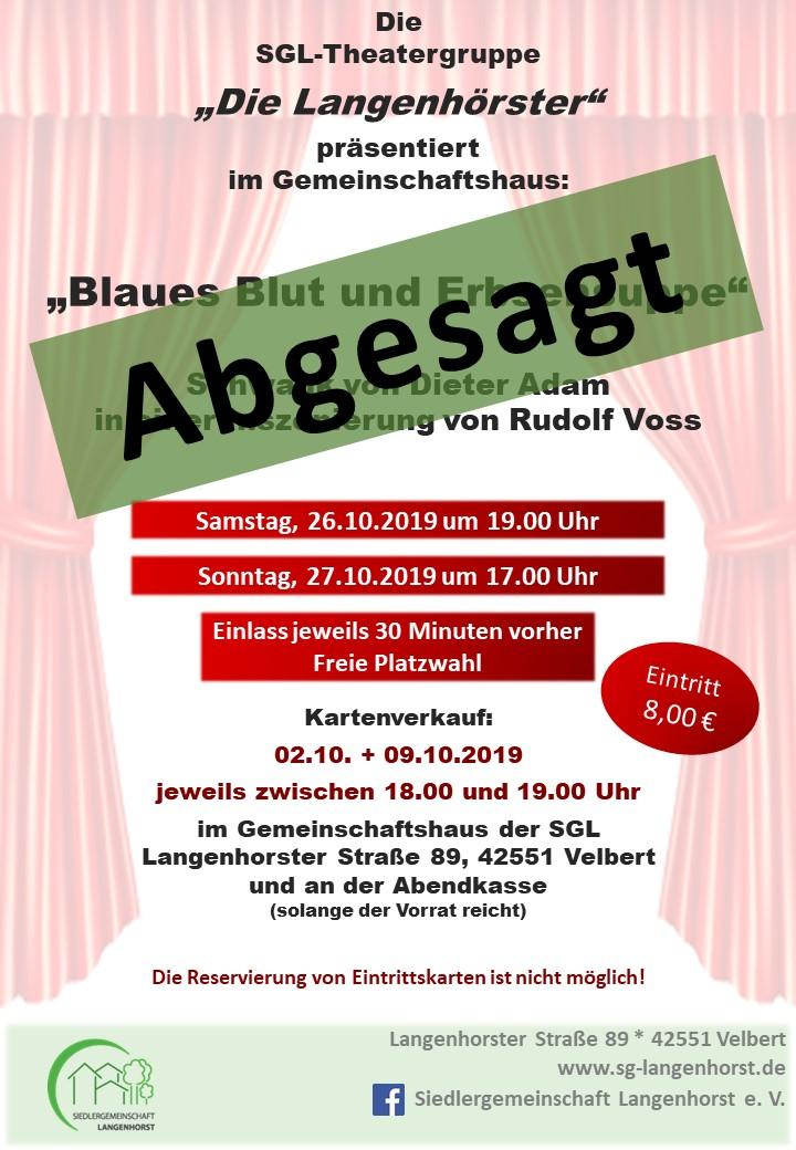"""ABGESAGT: Theater im Gemeinschaftshaus: """"Blaues Blut und Erbsensuppe"""" @ Siedlergemeinschaft Langenhorst e.V."""